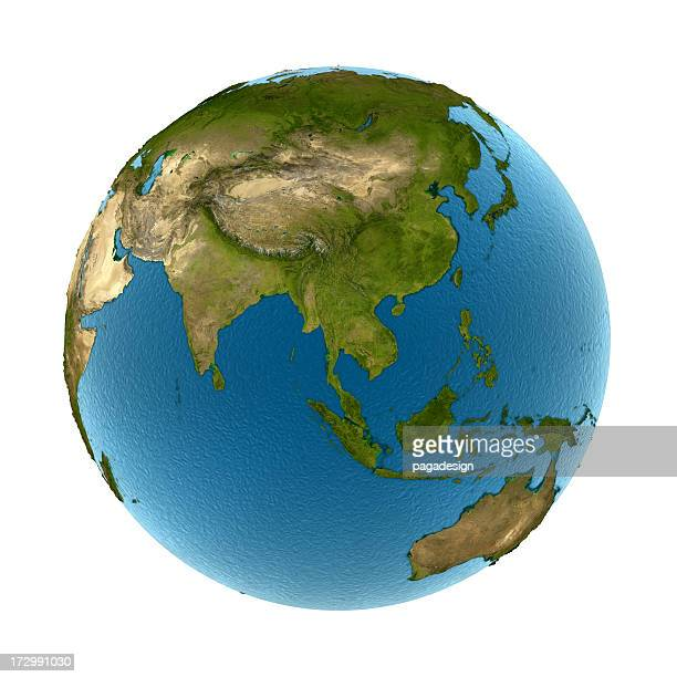 isolated earth - Asia & Australia: convex land, 3d ocean
