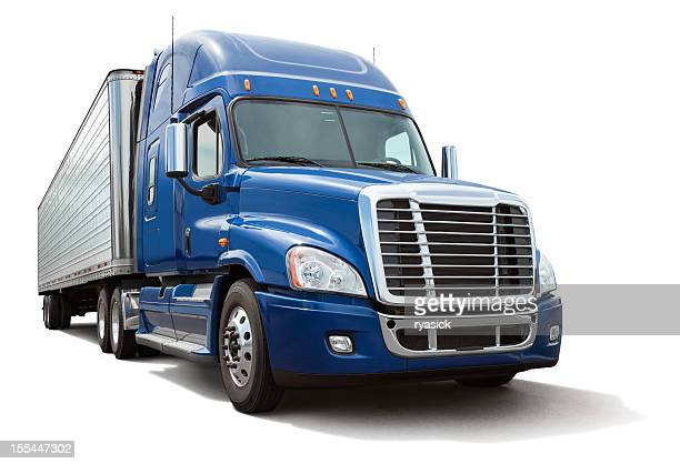 Isolated Eighteen Wheel Semi Truck with Blue Cab on White