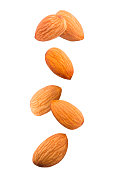 Isolated falling nuts. Falling almonds isolated on white background with clipping path as package design element.