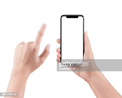 Isolated female hand holding a cellphone with clipping path, Woman typing on mobile phone isolated on white background. : Stock Photo