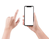 Touch screen mobile phone, in hand with clipping path, Woman typing on mobile phone isolated on white background and holding a modern smartphone and pointing with finger.