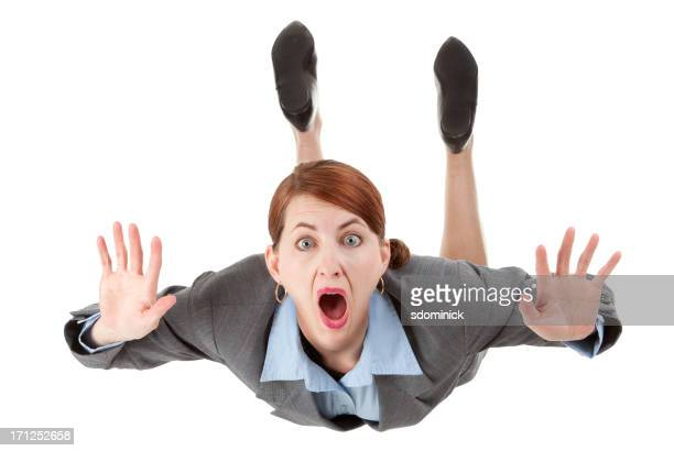 Isolated Free Falling Business Woman