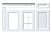 Front door, drawer, column, cornice for kitchen cabinet isolated on white