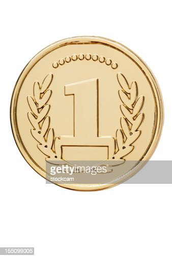 Isolated gold medal with number 1