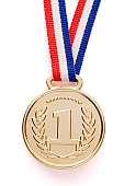 Isolated gold medal with ribbon