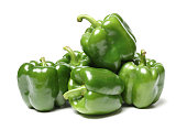 Isolated green capsicum couple on white background