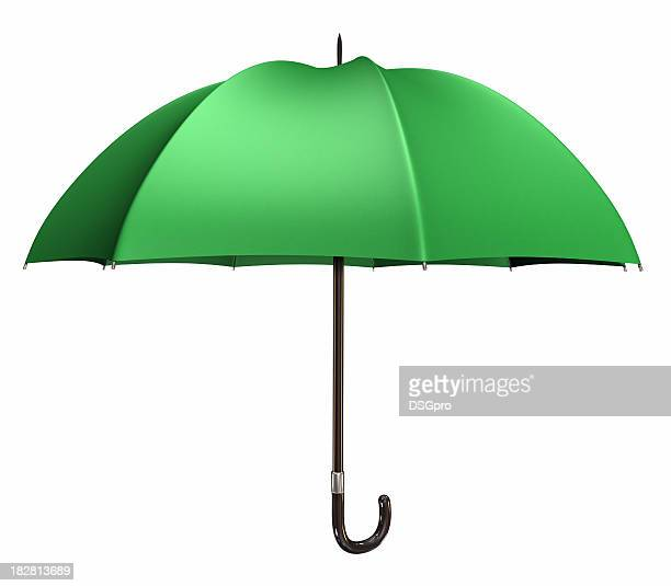 Isolated green umbrella with black handle