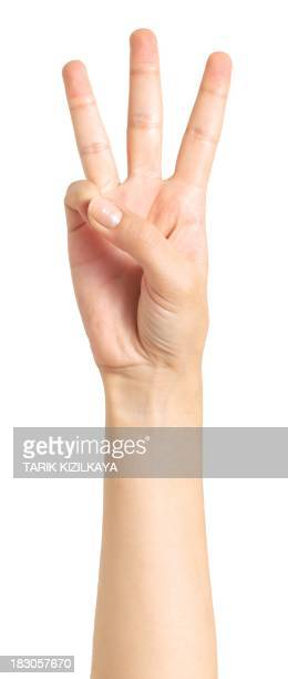 isolated hand, three