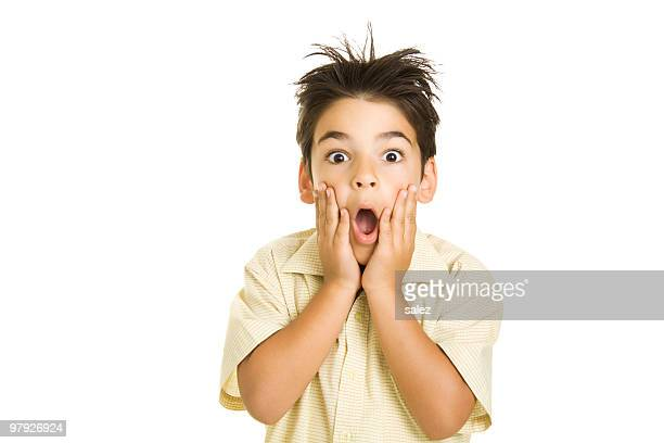 Isolated image of a boy with a surprised look on his face