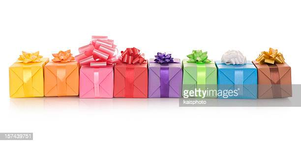 Isolated image of a number of gift boxes in a row