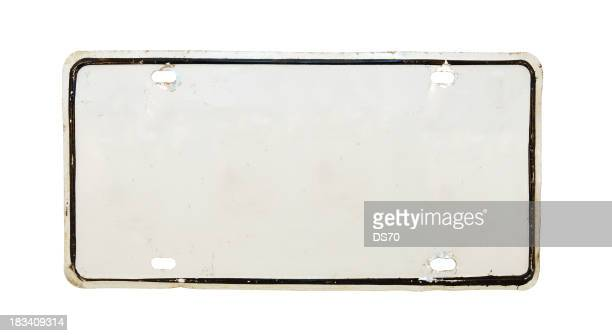 Isolated image of a white empty license plate