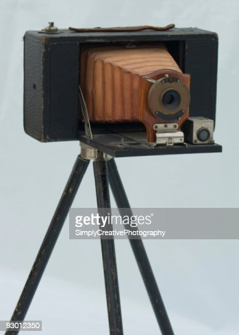 Isolated Image of an Antique Camera on a Tripod : Stock Photo