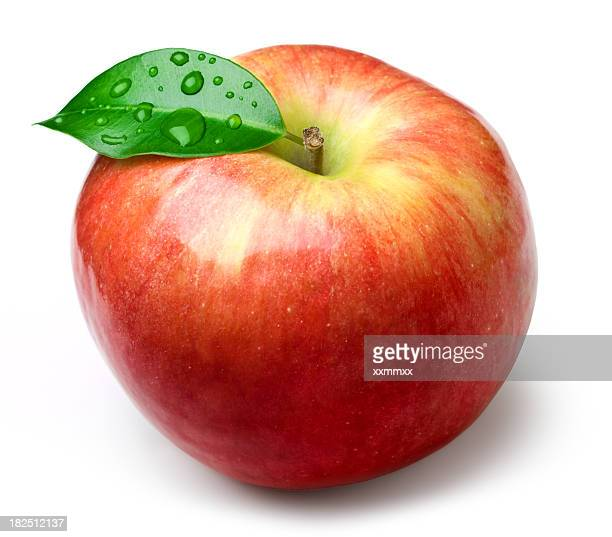 Isolated image of an apple with a single leaf