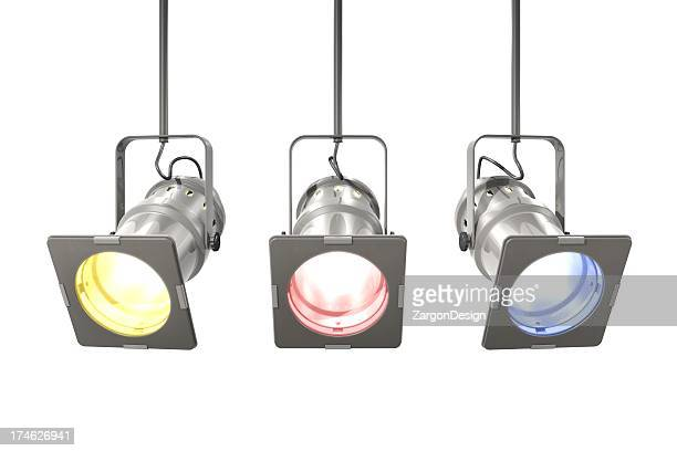 Isolated image of three spotlights on white background