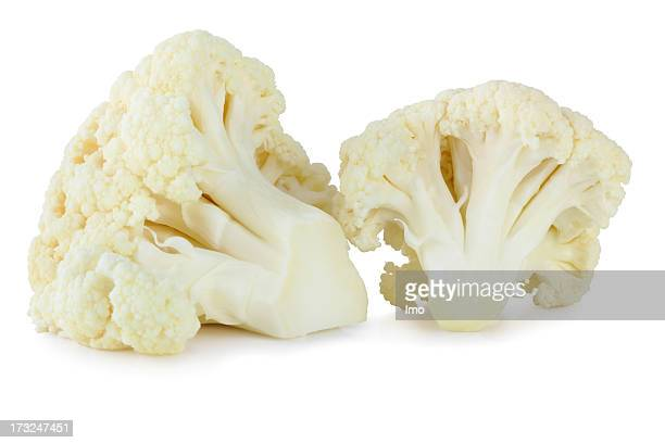 Isolated image of two stalks of cauliflower on white