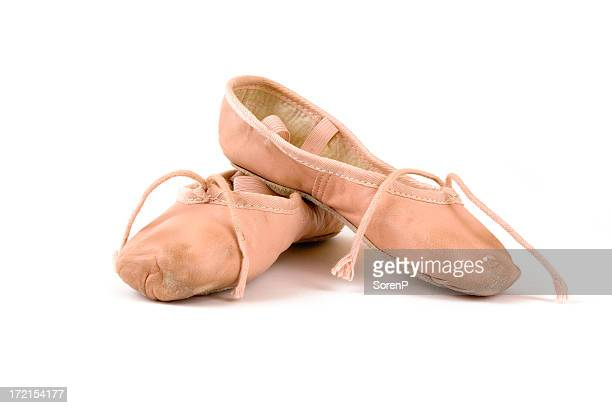 Isolated image of worn ballet slippers