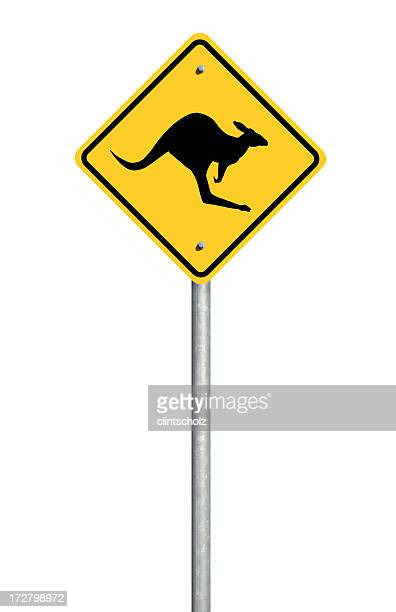 Isolated Kangaroo Road Sign