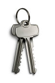 Two keys on a keychain isolated on white with clipping path.