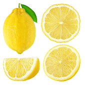 Isolated lemons. Whole and cut lemon fruits isolated on white background with clipping path