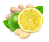 Isolated citrus fruits. Lime, lemon and ginger isolated on white background with clipping path