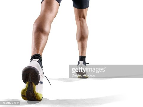 Isolated male athlete : Stockfoto