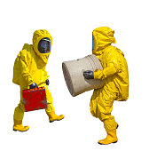 Isolated man in yellow protective hazmat suit on white