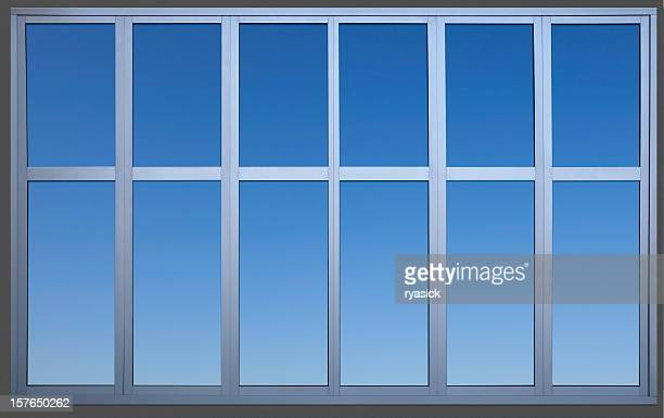 Isolated Metal Framed Paneled Office Window with Clipping Path