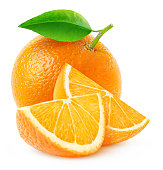 Whole orange fruit and two slices isolated on white with clipping pathMore oranges here:
