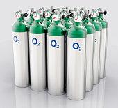 3D Isolated Oxygen Tank. Hospital equipment illustration.