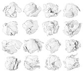 set of isolated paper balls on white background
