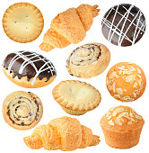 Pastry collection isolated on white background with clipping path