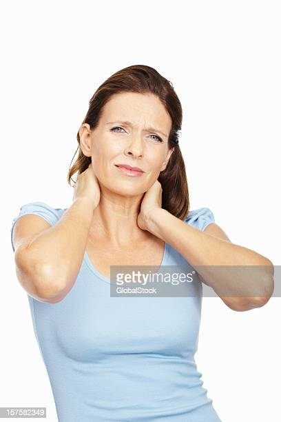 Isolated portrait of a lady with neck pain on white