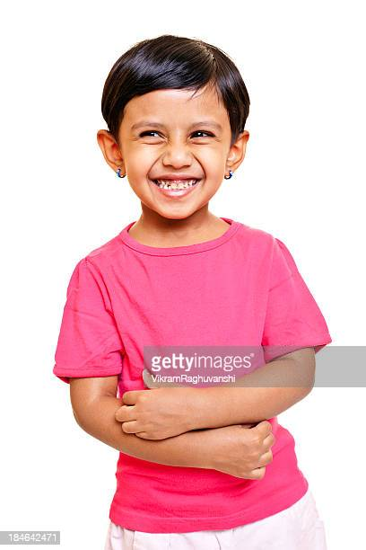 Isolated Portrait of cheerful little Indian girl