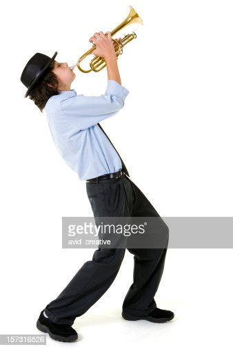 Isolated Portraits-Boy Playing Trumpet