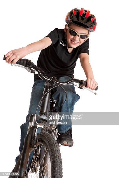 Isolated Portraits-Boy Riding Bicycle