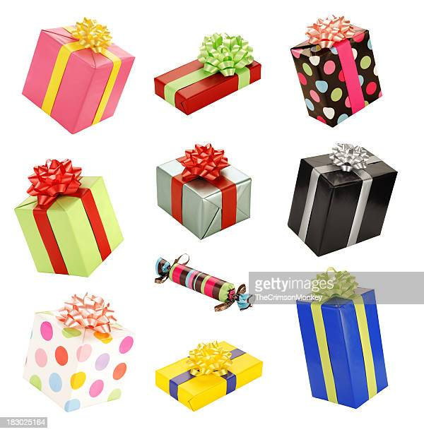 Isolated Presents Gifts Collection Assortment