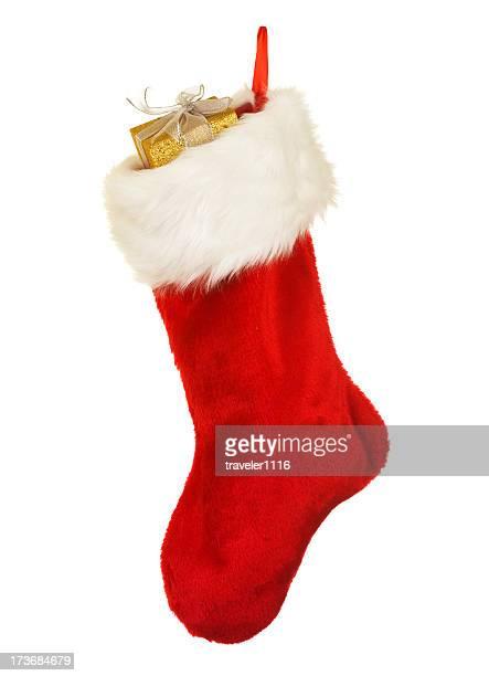 Isolé rouge Chaussette de Noël avec un ornement de Noël