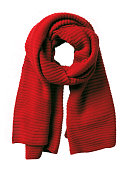 Isolated red handmade knitted winter scarf