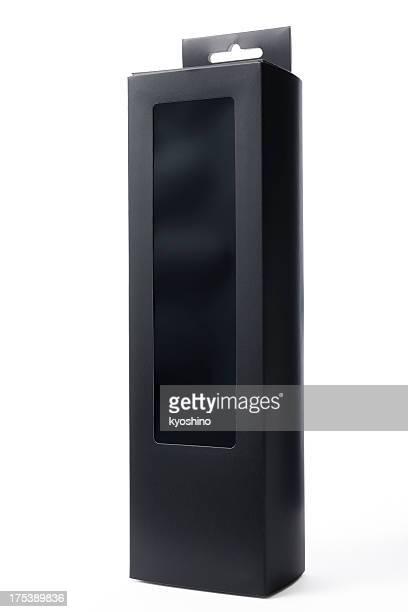 Isolated shot of blank black box on white background
