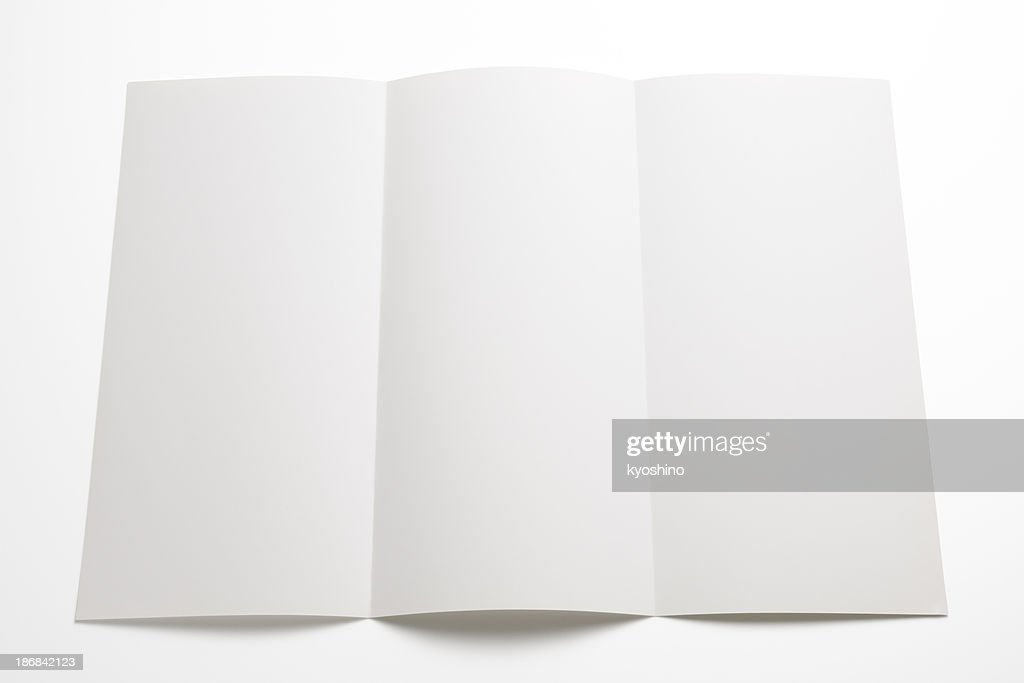 Isolated shot of blank booklet on white background