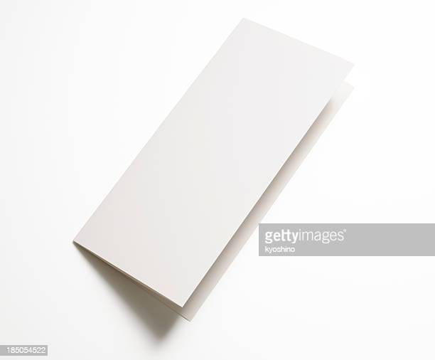 Isolated shot of blank folded paper on white background