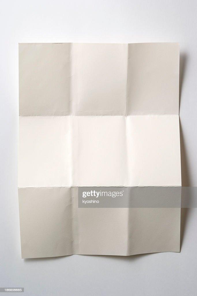 Isolated shot of blank folded paper on white background