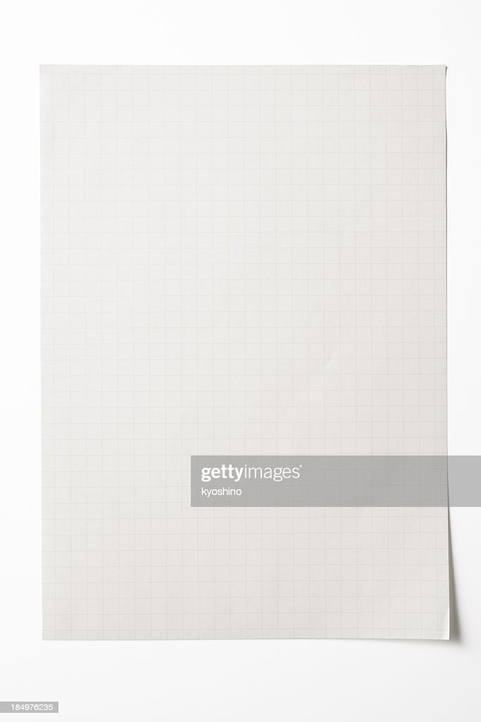 Isolated Shot Of Blank Graph Paper On White Background Stock Photo