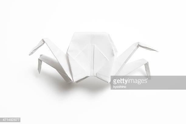 Isolated shot of blank origami crab on white background