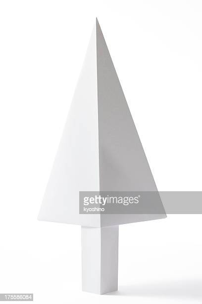 Isolated shot of blank origami tree on white background