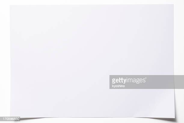 Isolated shot of blank paper on white background