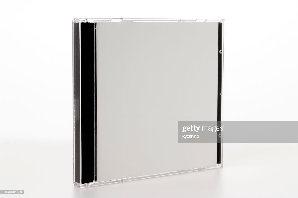 Isolated shot of blank plastic CD case on white background