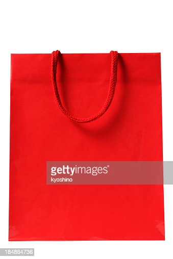 Isolated shot of blank red shopping bag on white background