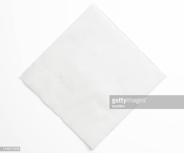 Isolated shot of blank white paper napkin on white background