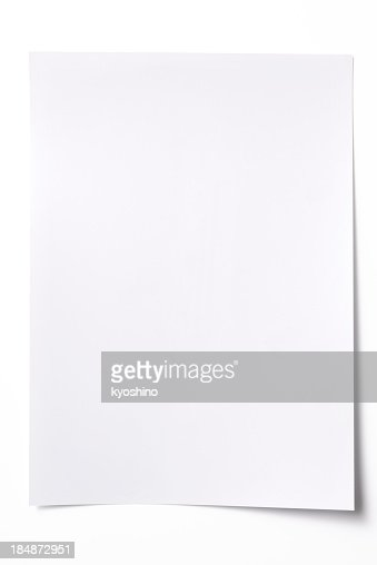 Isolated shot of blank white paper sheet on white background